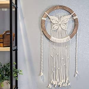 BohoCharm Butterfly Decor Dream Catcher - Hand Woven Boho Chic Macrame Wall Hanging, Butterfly Wall Decor with A Thick 14 in. Round Bohemian Rustic Wooden Frame