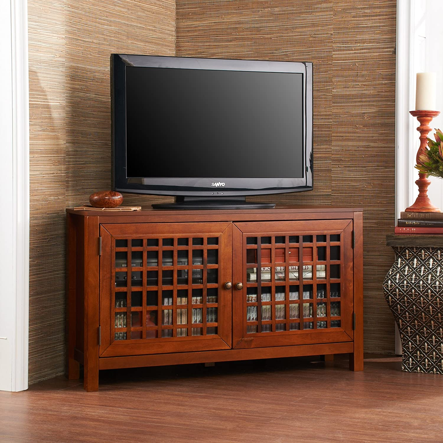 amazoncom narita corner media stand  walnut kitchen  dining -