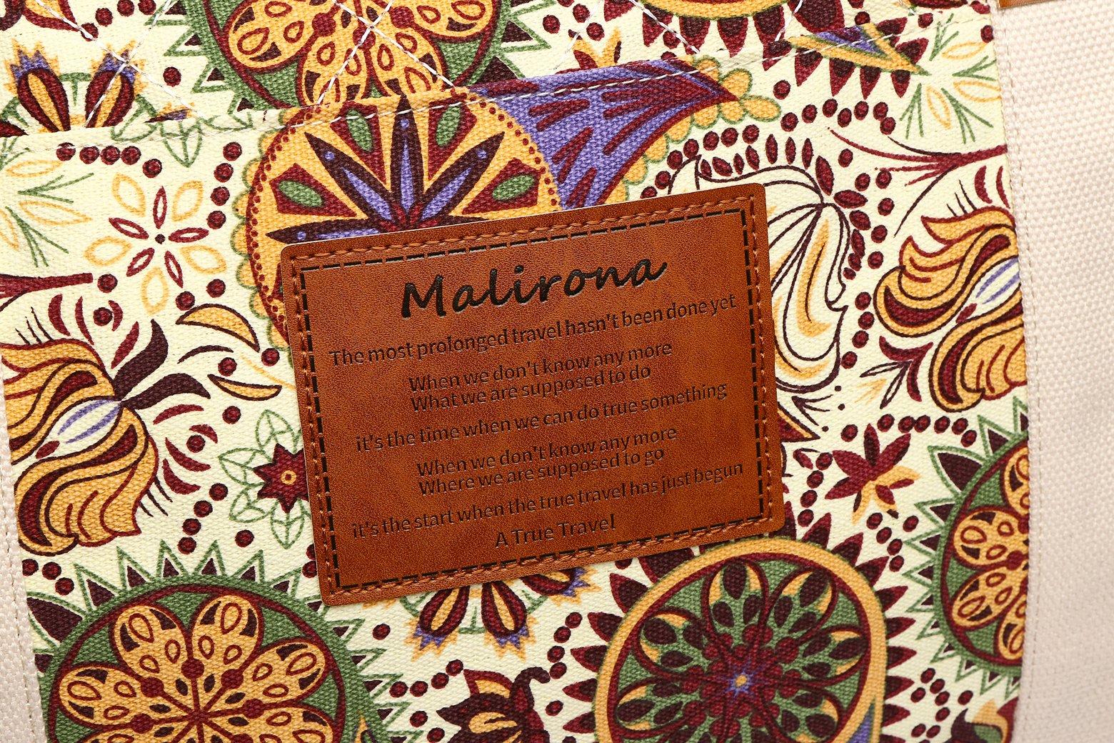 Malirona Canvas Weekender Bag Travel Duffel Bag for Weekend Overnight Trip (Yellow Flower) by Malirona (Image #7)