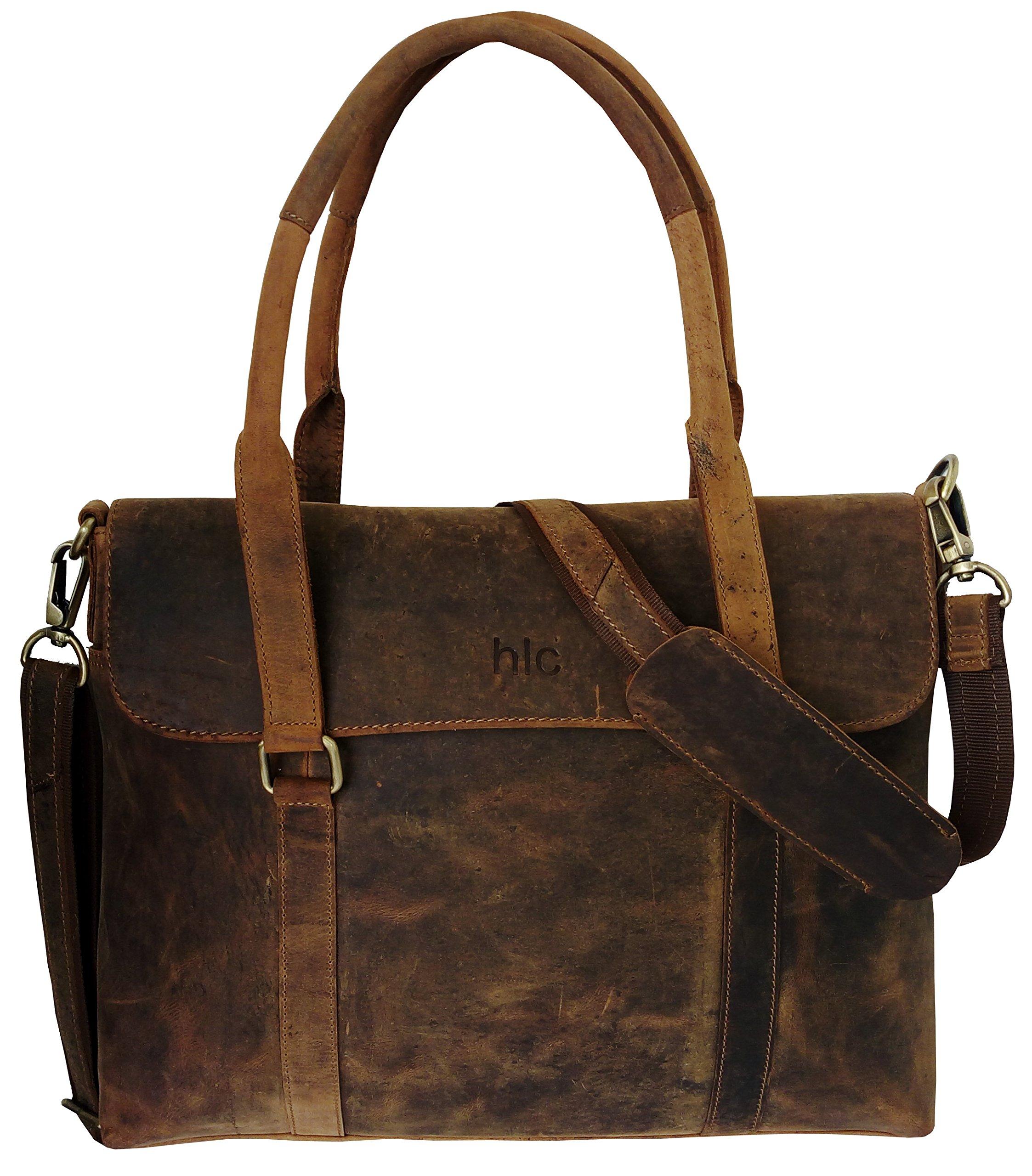 HLC Buffalo Leather Messenger Handmade Bag Laptop Bag Satchel Bag Padded Messenger Bag School Bag 16X12X4 Inches Brown