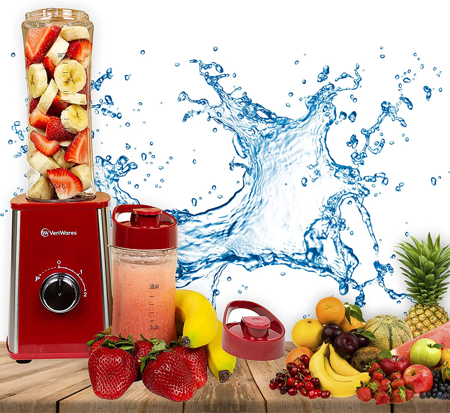 Personal Blender for Shakes and smoothies – Portable 2-Speed Motor and 3 Blades Good for Travel – Practical and Compact Design Smoothie Maker – 2 Leak-Proof BPA-Free Bottles with Oz Marks (Red)