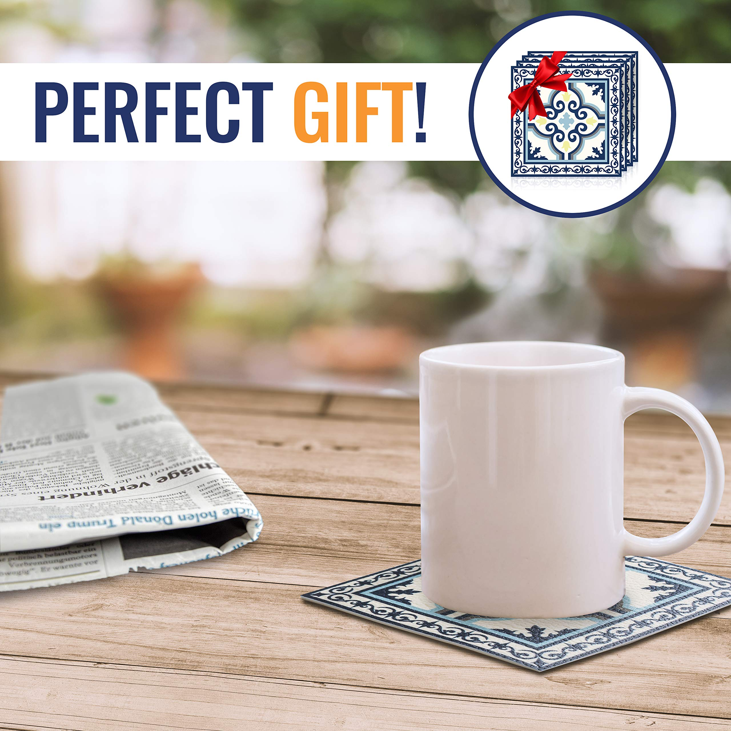 Camoone Non Slip Kitchen Mat + 4 Free Coasters - (Greek Garden) Blue & Off-White Decorative Vinyl Kitchen Floor Mat - Hypoallergenic, Insulated, Non-Fading, Easy to Clean and Non-Toxic''47.2x23.6x0.08'' by Camoone (Image #6)