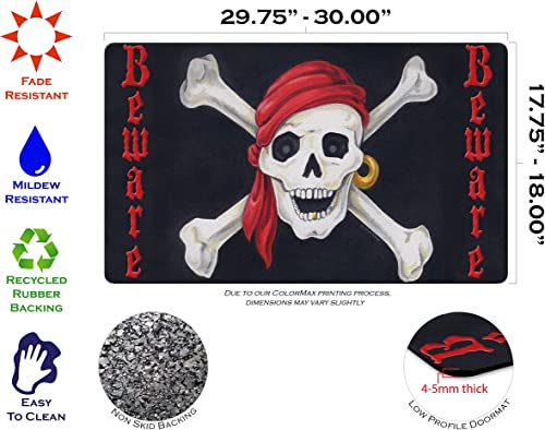Toland Home Garden Beware 18 x 30 Inch Decorative Floor Mat Skull Bones Pirate Halloween Doormat