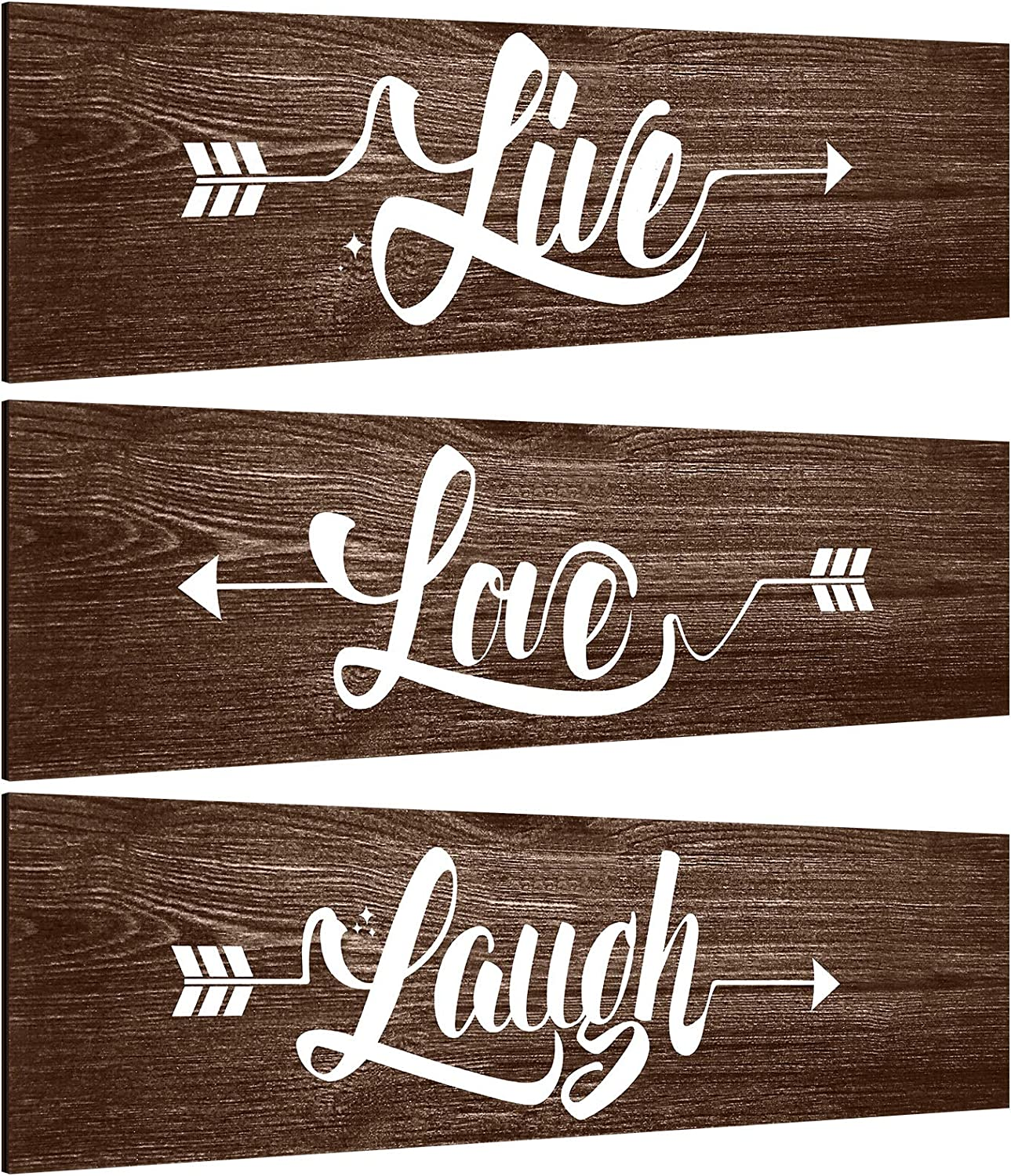 Jetec 3 Pieces Rustic Wood Arrow Sign Wall Decor Faith Love Hope Family Signs Farmhouse Entryway Sign for Home Office Kitchen Living Room, 12 x 3 x 0.2 Inch