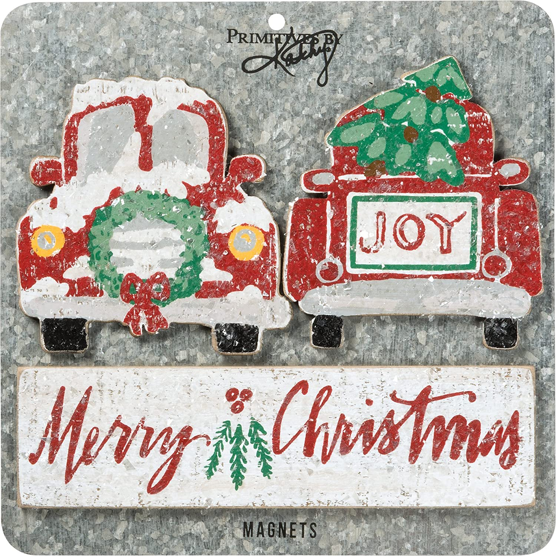 Primitives By Kathy Magnet Wood Magnet Set - Merry Christmas Decorative Ornaments