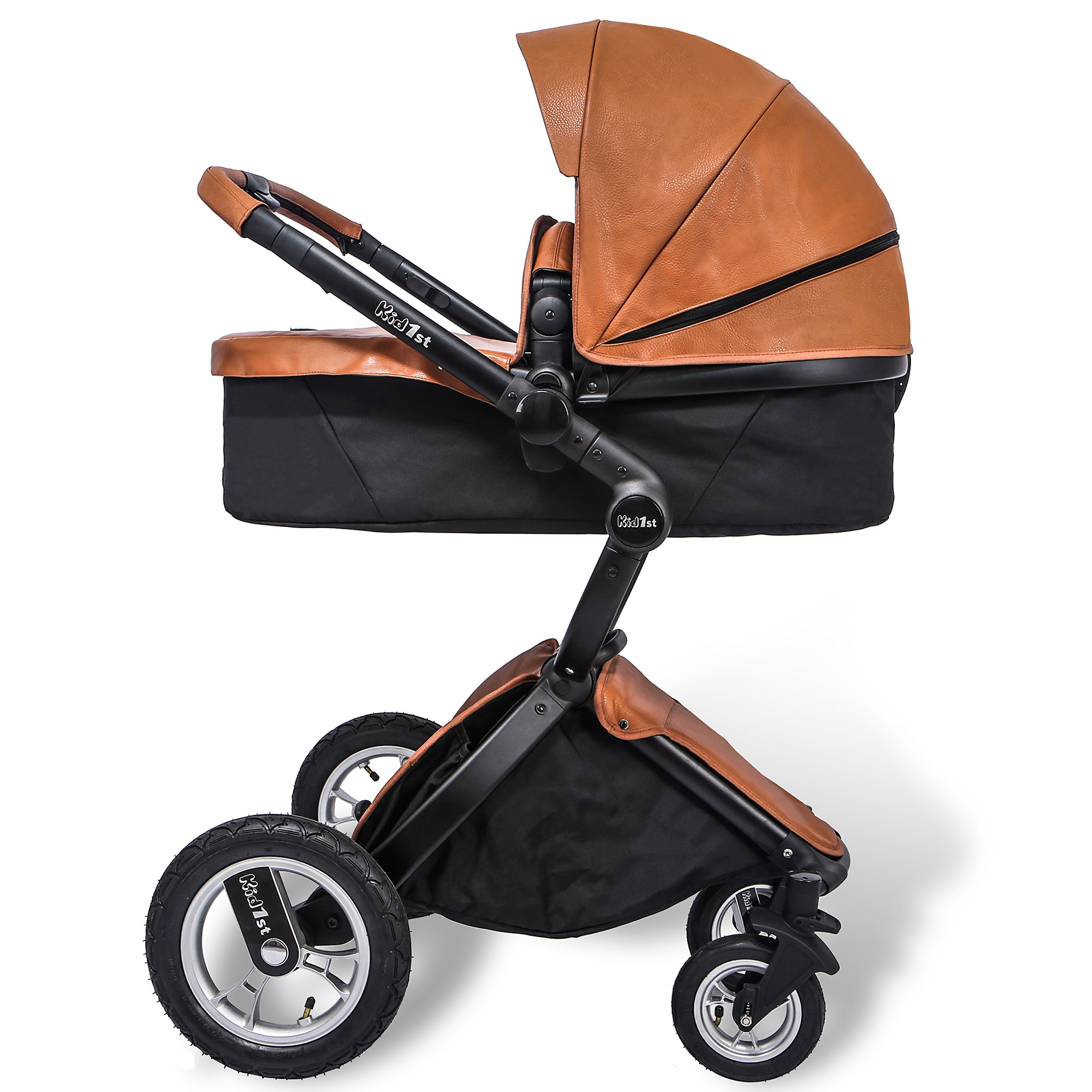 KID1st elegant all-in-1 high landscape All-Terrain Egg Shell infant Baby Stroller Travel System toddler pushchair  baby pram with Carriage Bassinet Combo for HOT MOM (Brown)  by Kid1st (Image #5)