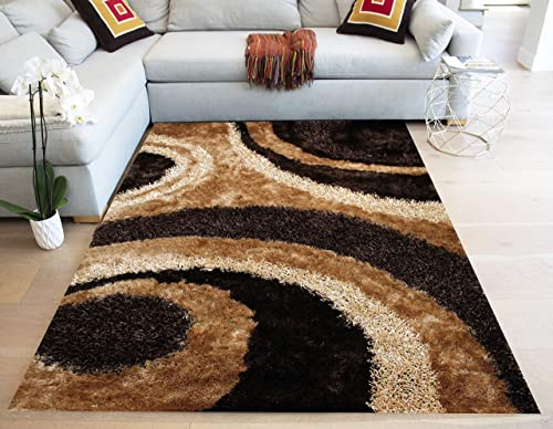 5 x7 Feet Brown Beige Gold Colors Two Tone 3D Carved Modern Contemporary Furry Fuzzy Soft Thick Plush Large Striped Patterned Bedroom Living Room Polyester Made Area Rug Carpet Rug Hand Woven Tufted