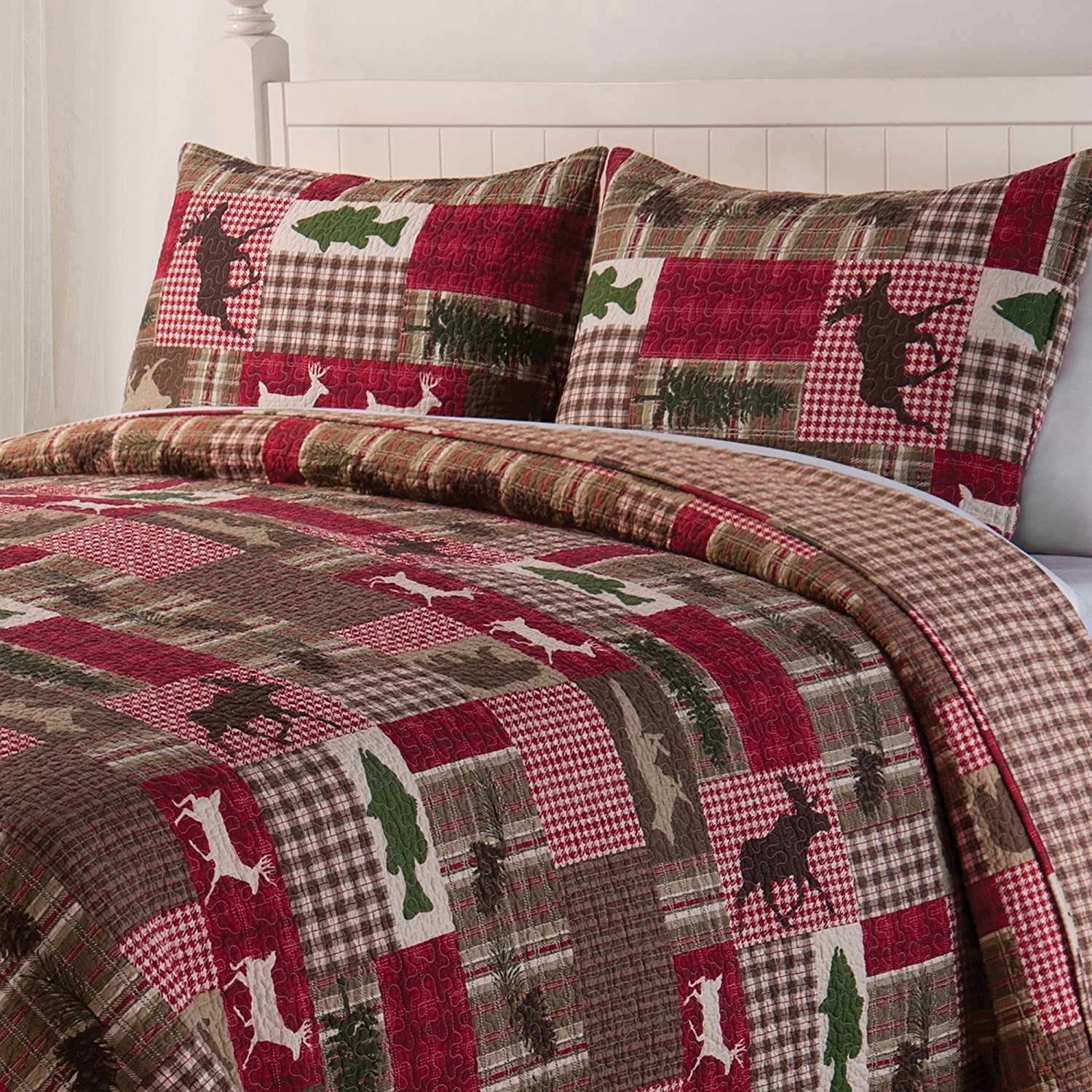 OSD 2pc Green Red Brown Moose Deer Hunting Themed Twin Quilt Set, Cotton, Cabin Themed Bedding Southwest Fish Plaid Checked Patchwork Wildlife Country Lodge Animal White