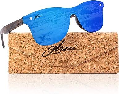 glozzi - Gafas de sol para hombre y mujer, de madera, polarizadas y antirreflectantes UV400, con patillas de madera y estuche de corcho Ebony Blue M: Amazon.es: Ropa y accesorios