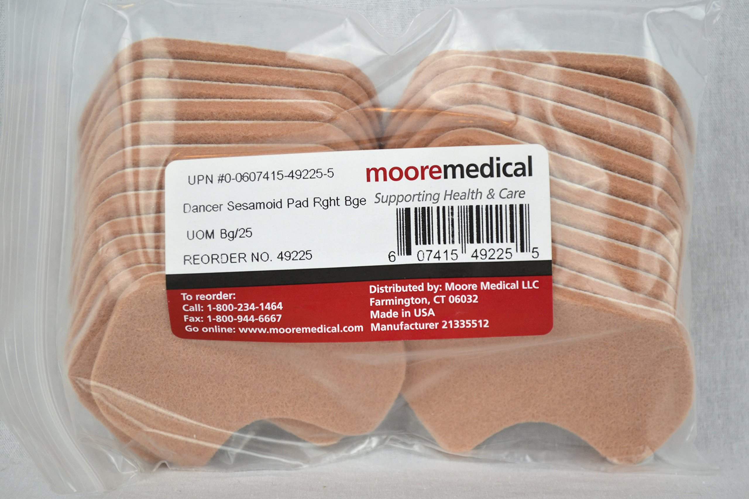 Moore Medical Dancer Sesamoid Pad Right Beige - Bag of 25 by MOORE Medical