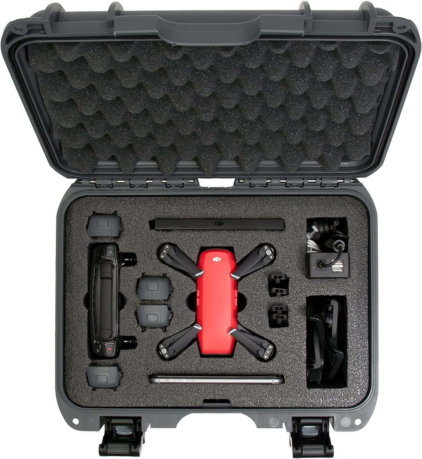 Nanuk 915 Waterproof Hard Drone Case with Custom Foam Insert for DJI Spark Flymore Black