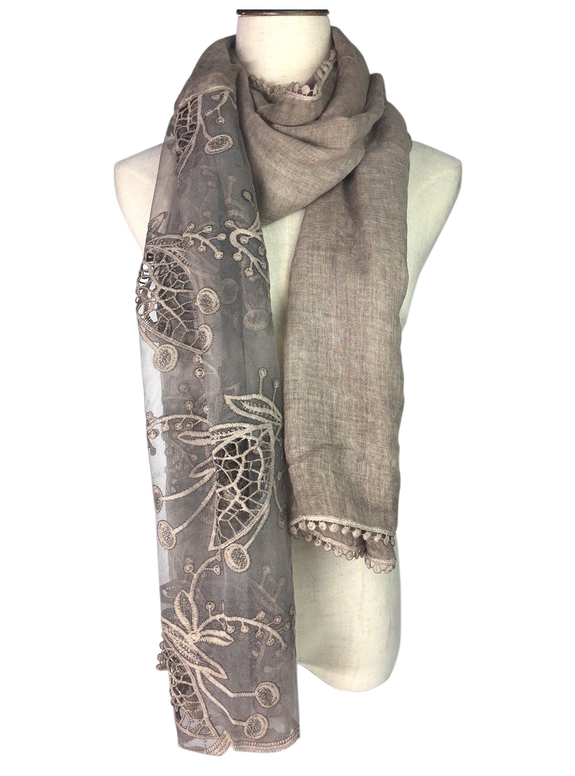 YOUR SMILE Women Lace Stylish Warm Blanket Scarf Gorgeous Wrap Shawl (khaki)