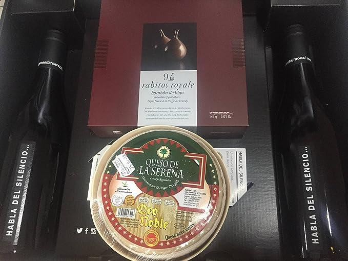 Cesta regalo con dos botellas de vino Habla del Silencio, caja de bombones Rabitos Royale y Queso de la Serena Oro Noble: Amazon.es: Alimentación y bebidas