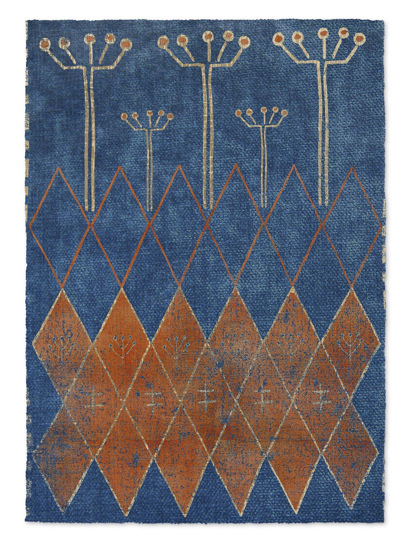 KAVKA Designs Mestara Area Rug, (Blue/Orange) - NAVAJO Collection, Size: 8x10x.5 - (TELAVC8089RUG810)
