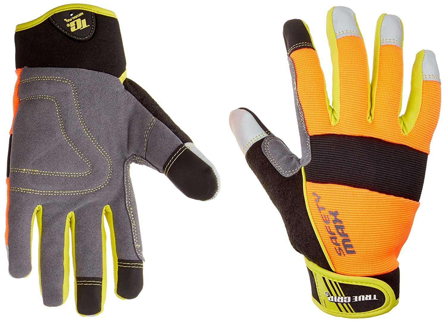 True Grip 9843-23 Large Safety Max Gloves with Touchscreen Fingers - Orange/Black