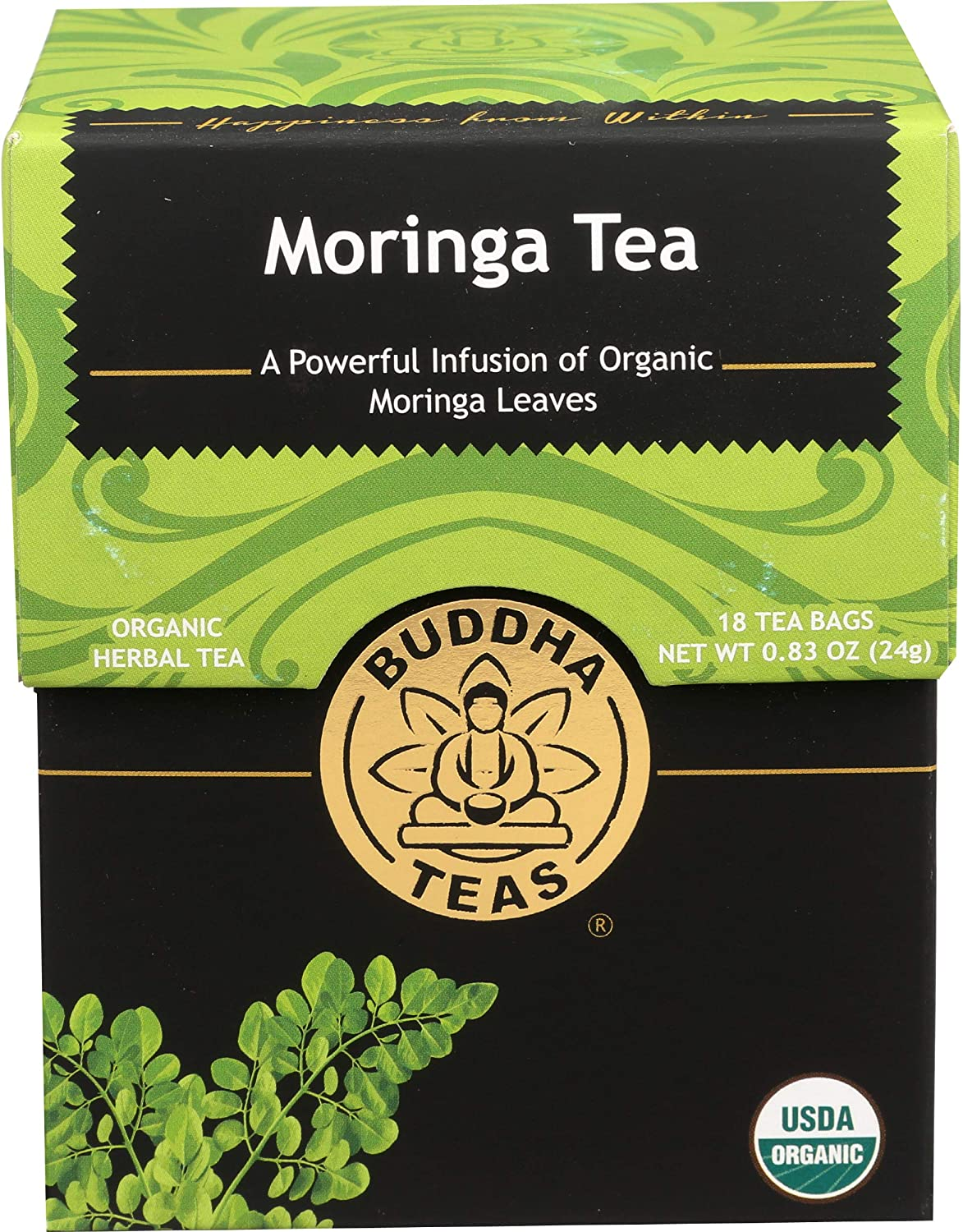 Organic Moringa Tea – 18 Bleach-Free Tea Bags – Caffeine-Free, Great Source of Vitamins