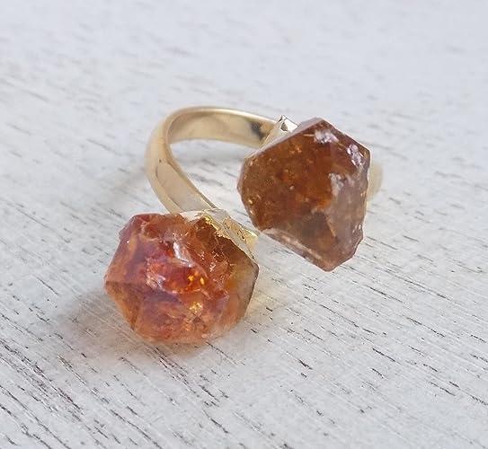 0be5144af67d2 Amazon.com: Natural Citrine Ring Raw Citrine Crystal Gemstone ...