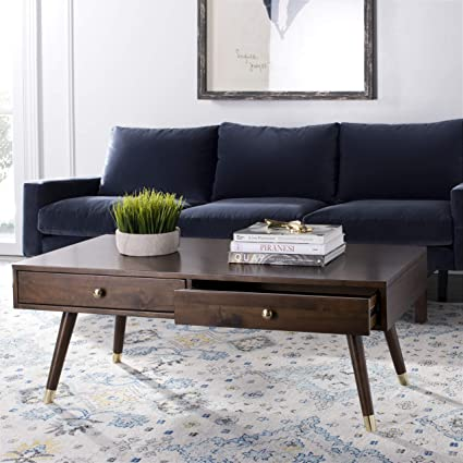 Safavieh FOX6304A Home Collection Gina Dark Oak Black Contemporary Lift Top  Coffee Table, Brown