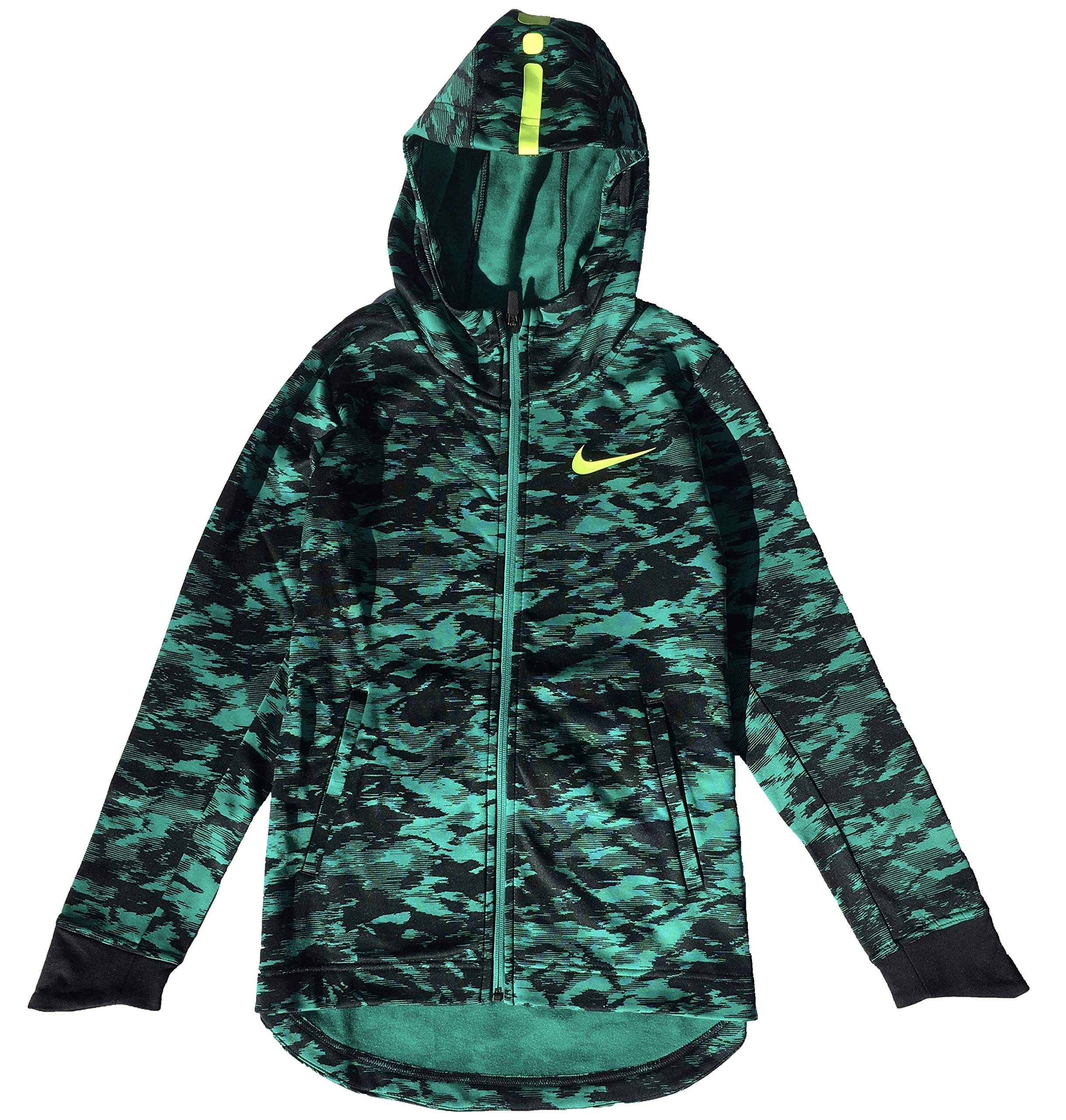 Nike Boy's Therma Elite Basketball Hoodie Neptune Green/Volt Size X-Large by Nike (Image #1)