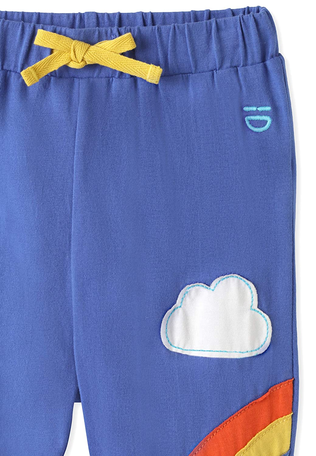 2-4Y kIDio Organic Cotton Toddler Blue Knee Patch Trousers Boys Girls Rainbow Applique