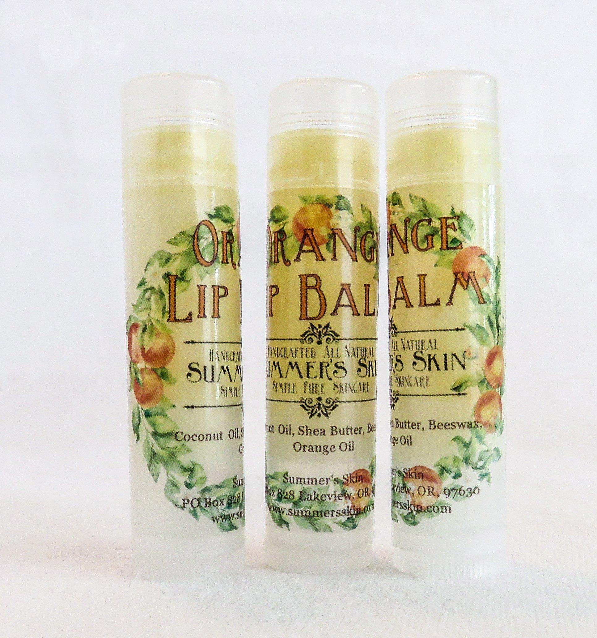 Orange Lip Balm by Summer's Skin, Set of 3
