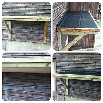 Al aire libre de madera plano porche con techo de goma