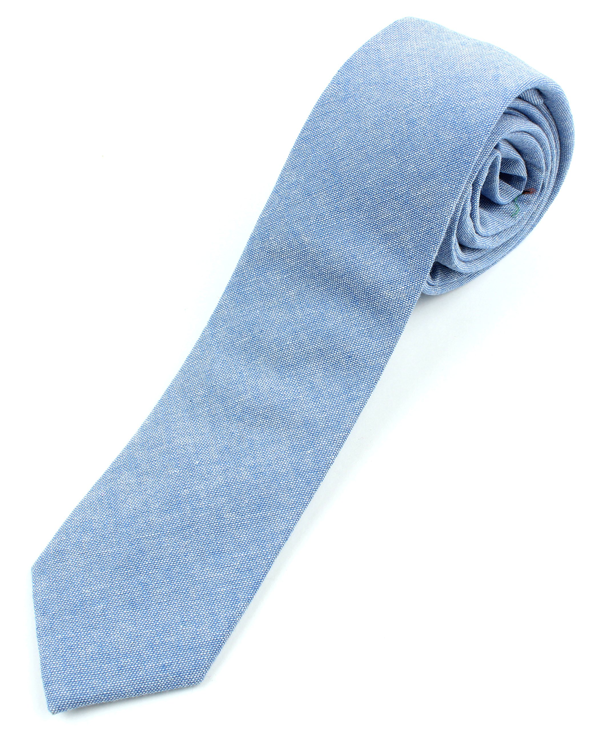 Men's Chambray Cotton Skinny Necktie Tie - Light Blue by Proper Materials