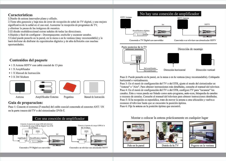 Antena de TV Portatil, Homapex Antena TV Interior TDT HD HDTV 1080P, Mayor Rango de Recepción de 80 KM, 4M / 13FT de Cables de Alto Rendimiento, Ultra ...