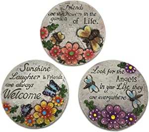 Decorative Stepping Stones for Garden Bundle: Three Items: Set of 3 Decorative Stepping Stones