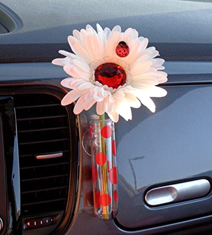 Amazon.com & VW Beetle Flower - White and Red Bling Daisy with Universal Vase