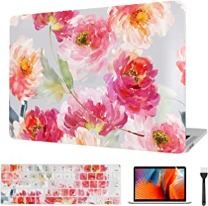 VAESIDA for MacBook Pro 13 Inch Case 2012-2015, Floral Laptop Cover & Keyboard Cover & Screen Protector Only Compatible with 2012-2015 Mac Pro 13 Retina Model A1502/A1425, Watercolor Flowers