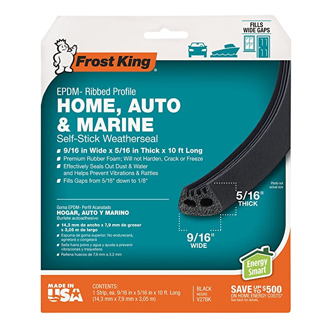 Frost King EPDM Rubber Self-Stick Weatherseal Tape, D-Section, 9/16