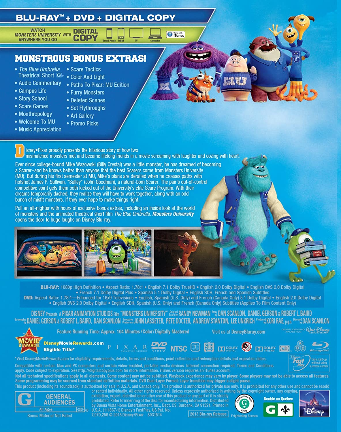 Amazon monsters university blu ray dvd digital copy amazon monsters university blu ray dvd digital copy billy crystal john goodman steve buscemi helen mirren peter sohn joel murray voltagebd Image collections