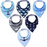 KiddyByte Baby Bandana Drool Bibs - Cute Design for Boys, Super Absorbent Organic Cotton for Drooling Teething and Feeding, Perfect for Baby Shower and New Moms