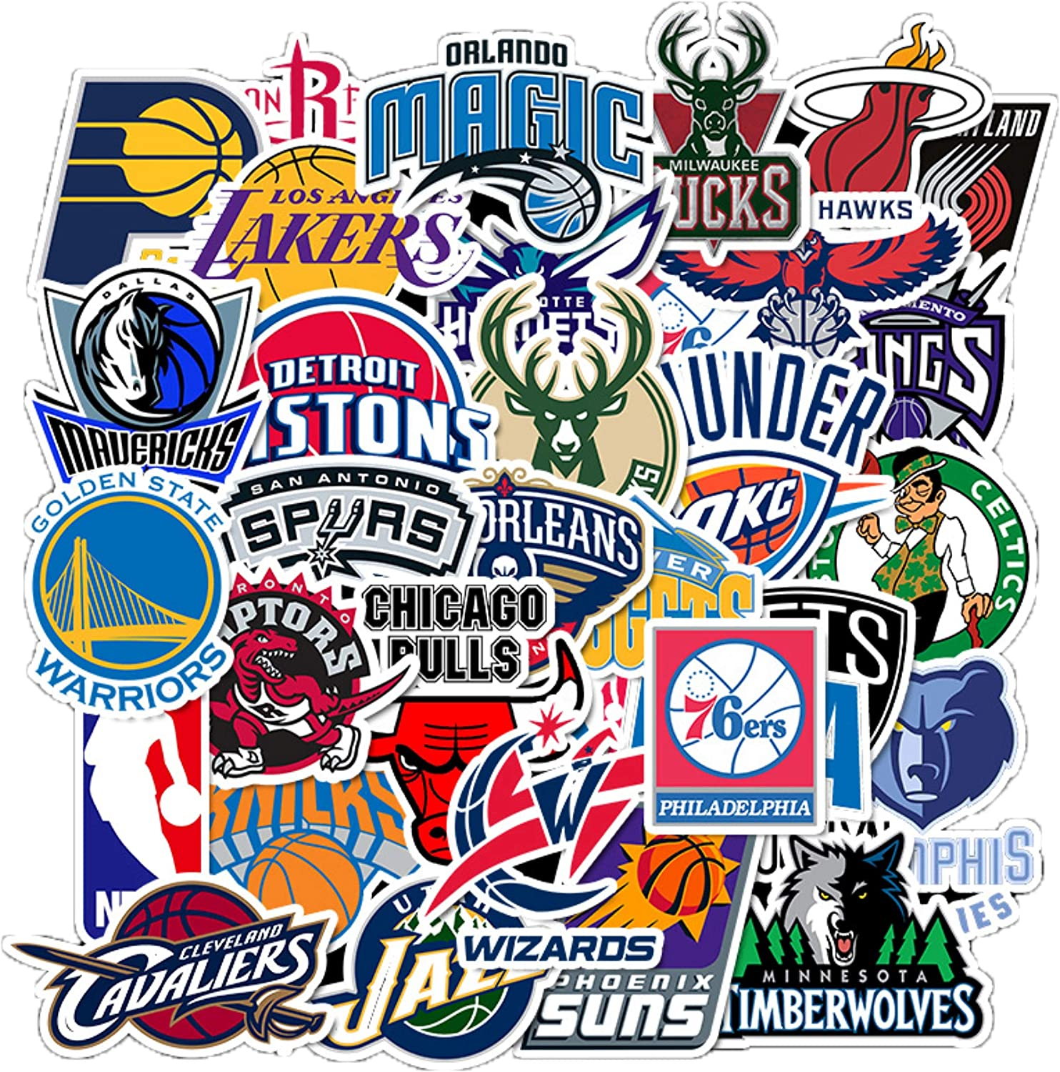 32pcs NBA Team Stickers Creative DIY Stickers Funny Decorative Cartoon for Cartoon PC Luggage Computer Notebook Phone Home Wall Garden Window Snowboard