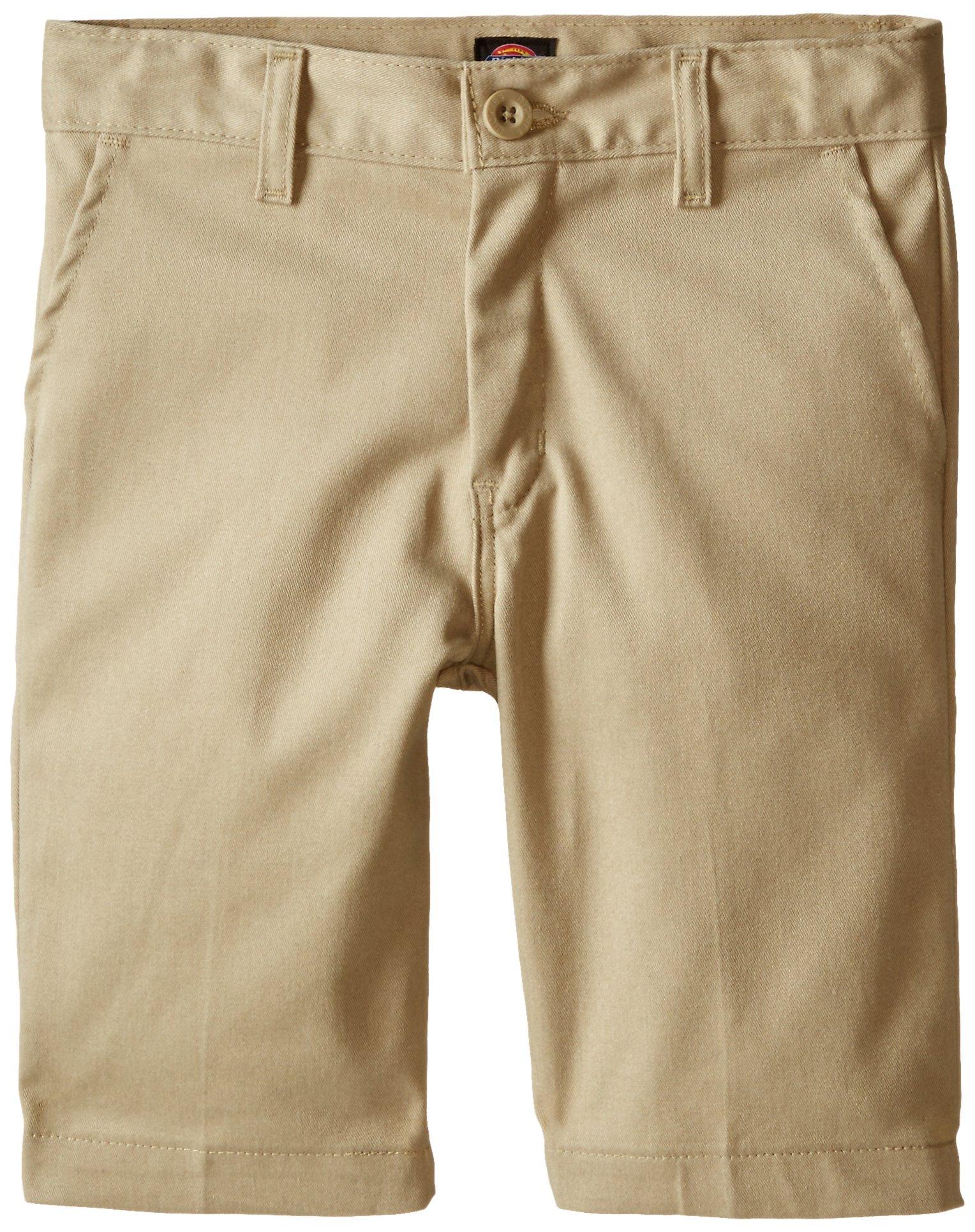 Dickies Khaki Big Boys' Slim Fit Stretch Flat Front Short, Desert Sand, 10