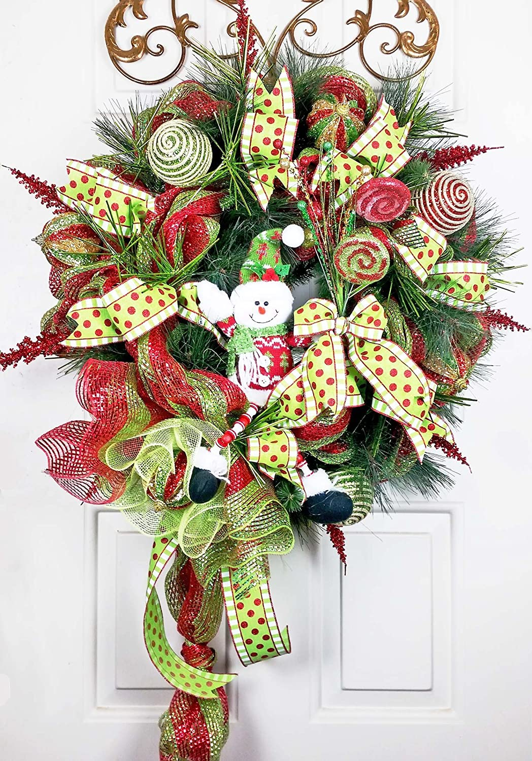 Handmade Christmas Snowman Candy Bouquet Wreath