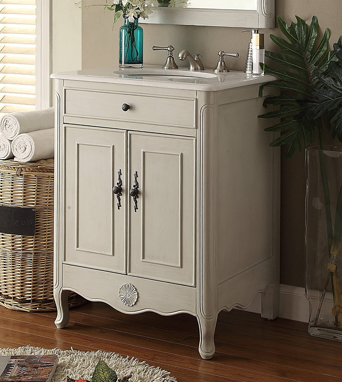 Daleville 34 inch vanity hf081wp distressed cream - 26 Cottage Style Pastel Gray Daleville Bathroom Sink Vanity Model 838ck Amazon Com