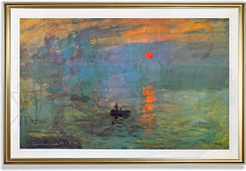 Monet Wall Art Collection Impression Sunrise Fine Giclee Prints Framed Wall Art Ready to Hang 28X48
