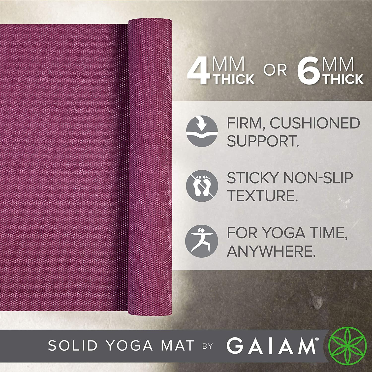 68 x 24 x 4mm or 6mm Thick Gaiam Yoga Mat Pilates /& Floor Workouts Solid Color Exercise /& Fitness Mat for All Types of Yoga