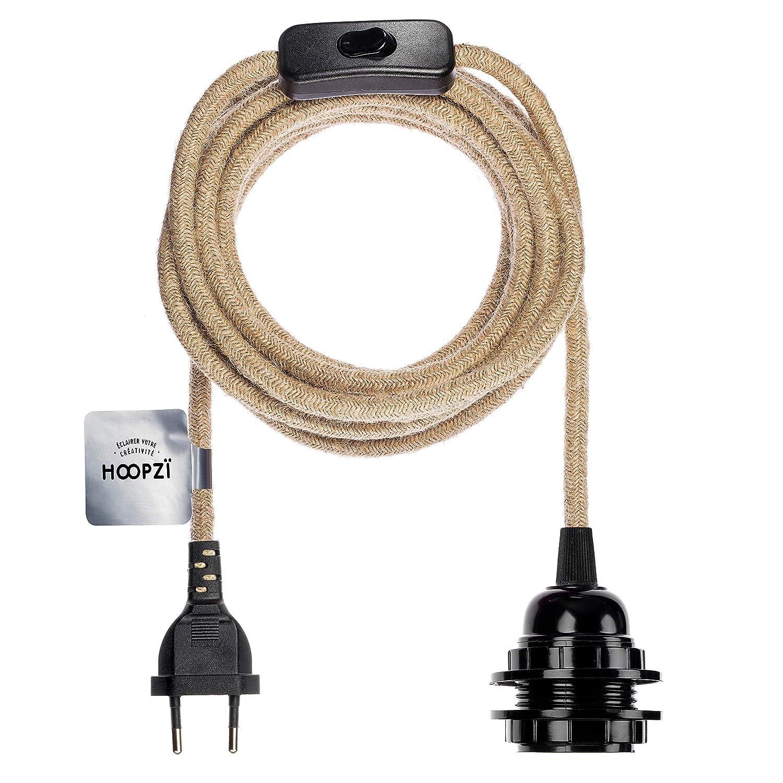 Hoopzi /• Bala /• Portalamparas E27 con Enchufe y interruptor /• Cable Electrico Trenzado Vintage /• 36 Colories /• 4,5 Metros /• Color Marfil