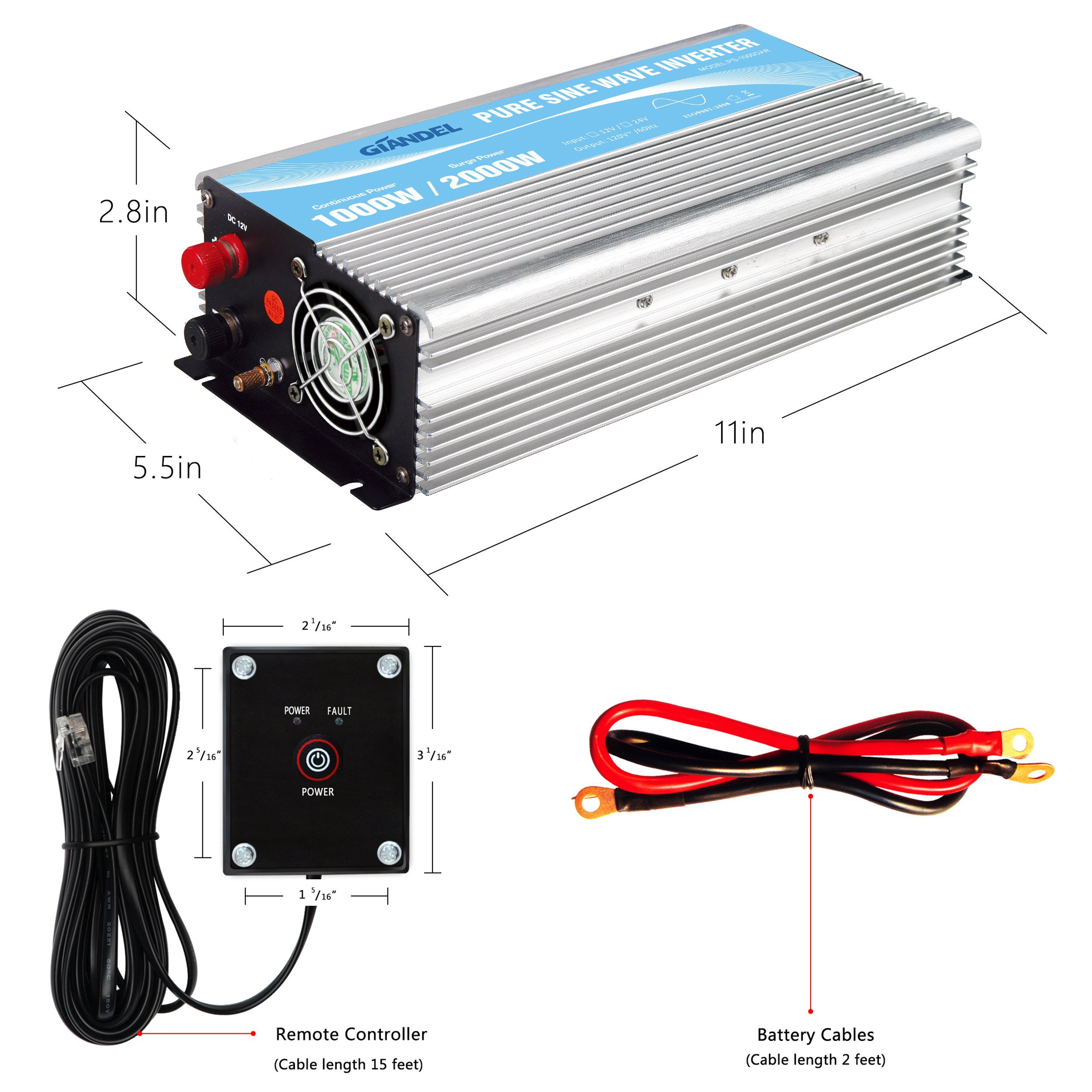 Giandel Pure Sine Wave Power Inverter 1000W DC 24V to AC 110V 120V with Remote Control with Dual AC Outlets &1A USB Port for RV Truck Car Solar System and Emergency by Giandel (Image #4)
