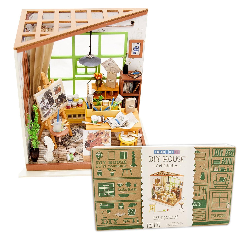Amazon imagine 3d diy house model kit art studio with led light amazon imagine 3d diy house model kit art studio with led light kit miniature dollhouse build it yourself kit for hobbyists and enthusiasts toys solutioingenieria Choice Image