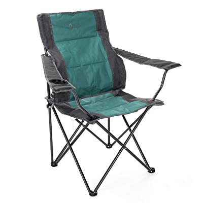 ARROWHEAD OUTDOOR Portable Folding Camping Quad Chair w/Lumbar Back Support, Cup Holder | Heavy-Duty, Oversize, Supports up to 300lbs | Includes Bag | USA-Based Support (Green & Gray): Sports & Outdoors