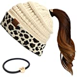 C.C Exclusives Solid Color Ribbed Beanie Ponytail hat with Leopard Pattern Cuff (MB-80)