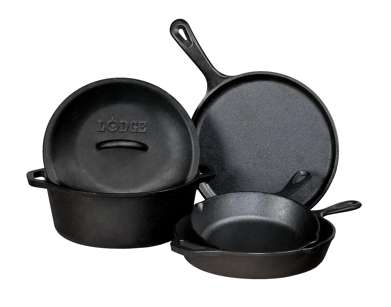 Co color cast cookware - Amazon Com Lodge L5hs3 5 Piece Pre Seasoned Cast Iron Cookware Set Cast Iron Skillet Pasta Bowls