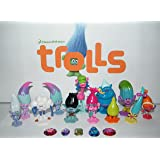 """Dreamworks Trolls Movie Deluxe Figure Toy Set of 17 with """"Treasure Troll"""" Jewels and Figures Featuring Princess Poppy, Branch, DJ Suki and Many More!"""