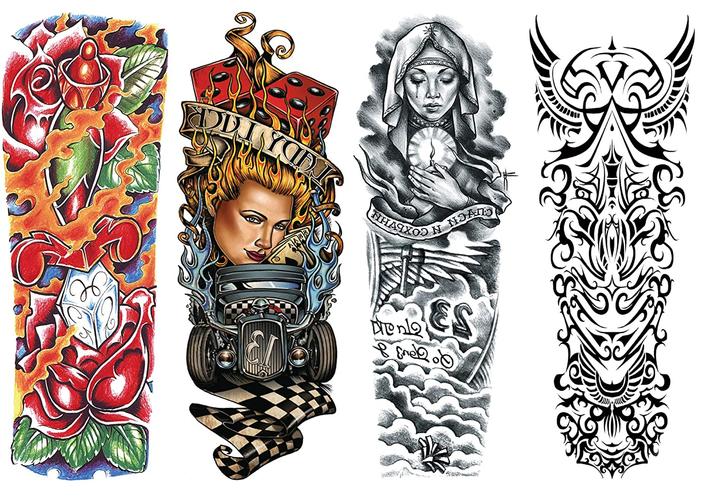 DaLin 4 Sheets Extra Large Temporary Tattoos, Full Arm (Set 7)