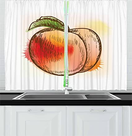 Ambesonne Peach Kitchen Curtains, Fresh Fruit Full Of Vitamins And  Nutrition Food Sketch Color Splatters
