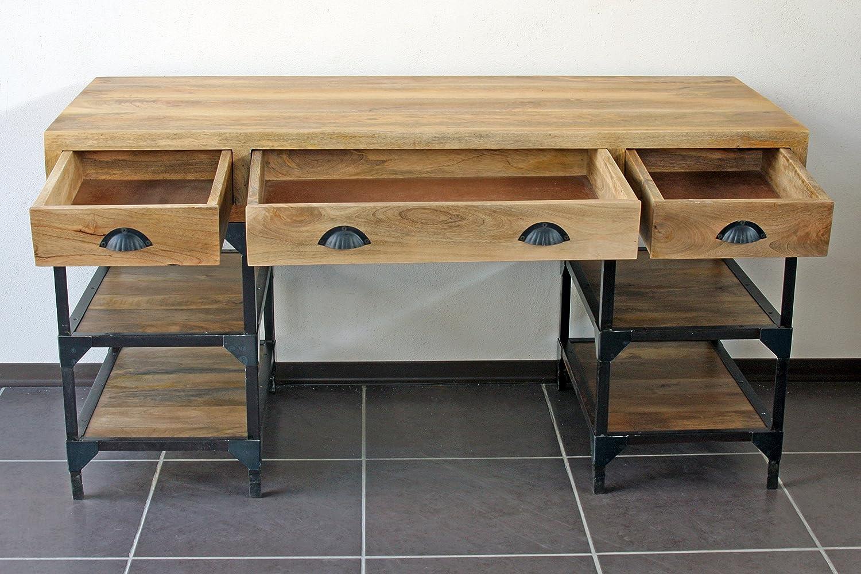 Bureau industriel métal et bois de manguier: amazon.fr: cuisine & maison